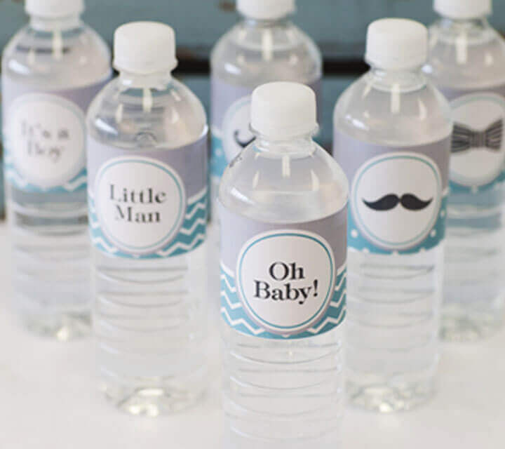 Baby Shower Decorations - Witty water bottles