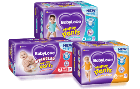 BabyLove Nappy Pants grouped sample pack shots
